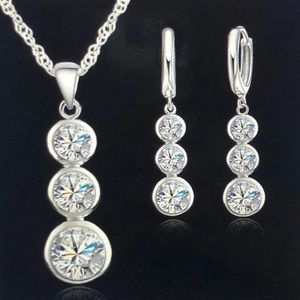 Set exquisite earrings & necklace 925 sterling